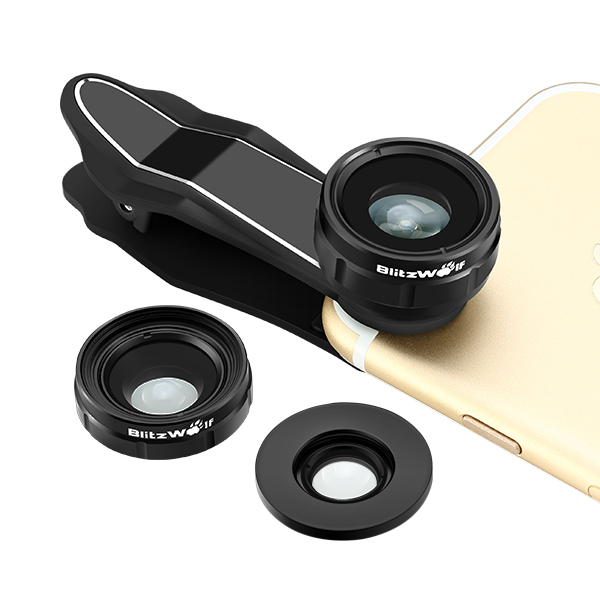 BlitzWolf® BW-LS1 3 in 1 Camera Lens 230° Fisheye Lens 0.63X Wide Angle Lens 15X Macro Len with Cliptest主标二